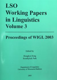 LSO Working Papers in Linguistics Volume 3 (cover)