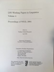 LSO Working Papers in Linguistics Volume 4 Cover