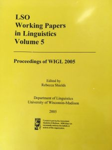 LSO Working Papers in Linguistics Volume 5 Cover
