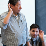 Elder Cecil Garvin and his son Henning Garvin teaching a Ho-Chunk language class in 2009