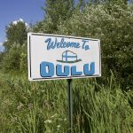 """Welcome to Oulu"" sign in Oulu, Wisconsin"